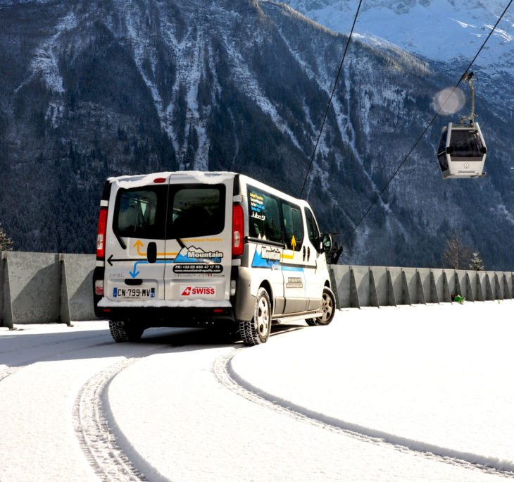 Airport transfers bus in the winter snow