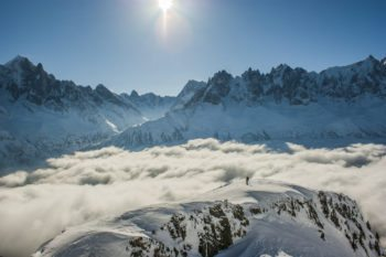 Chamonix mountains engulfed in cloud